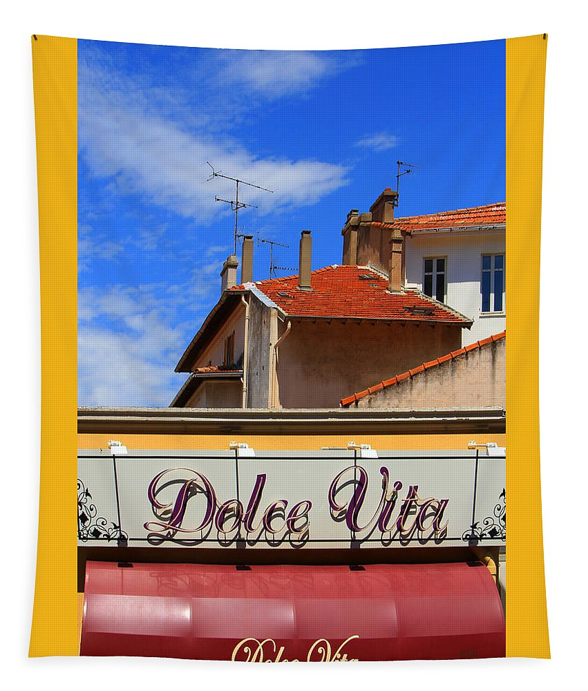 Architecture Tapestry featuring the photograph Dolce Vita Cafe In Saint-raphael France by Ben and Raisa Gertsberg