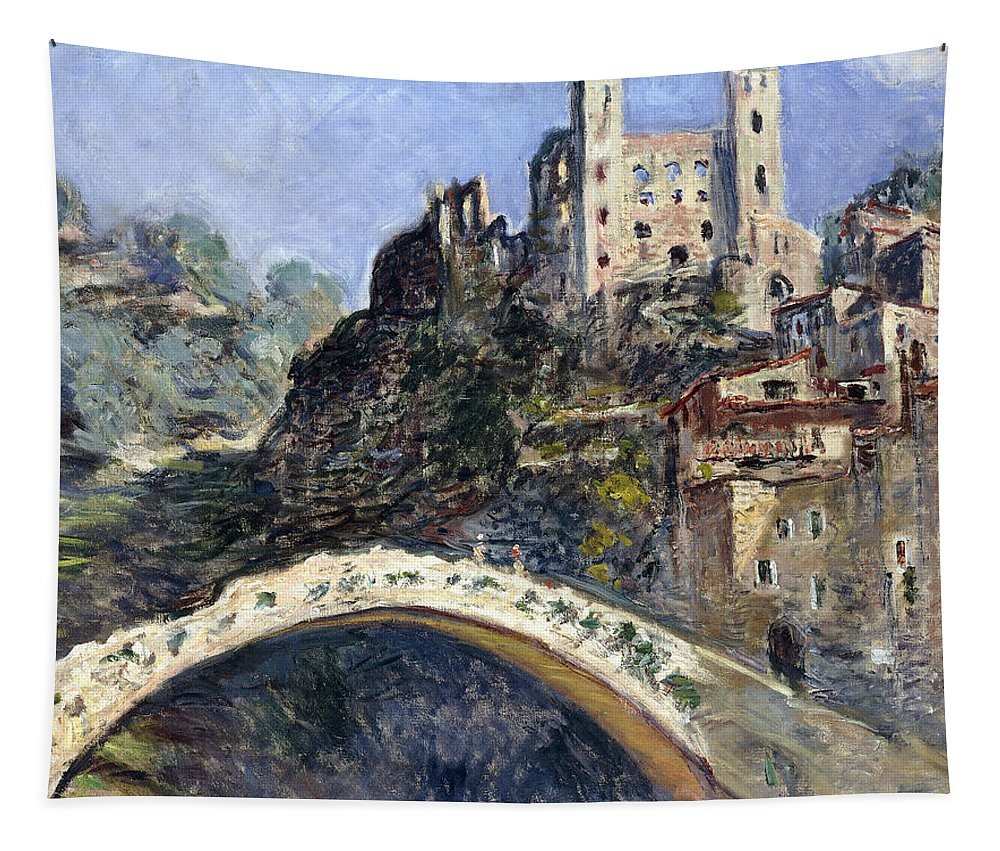 Monet Tapestry featuring the painting Dolceacqua by Claude Monet