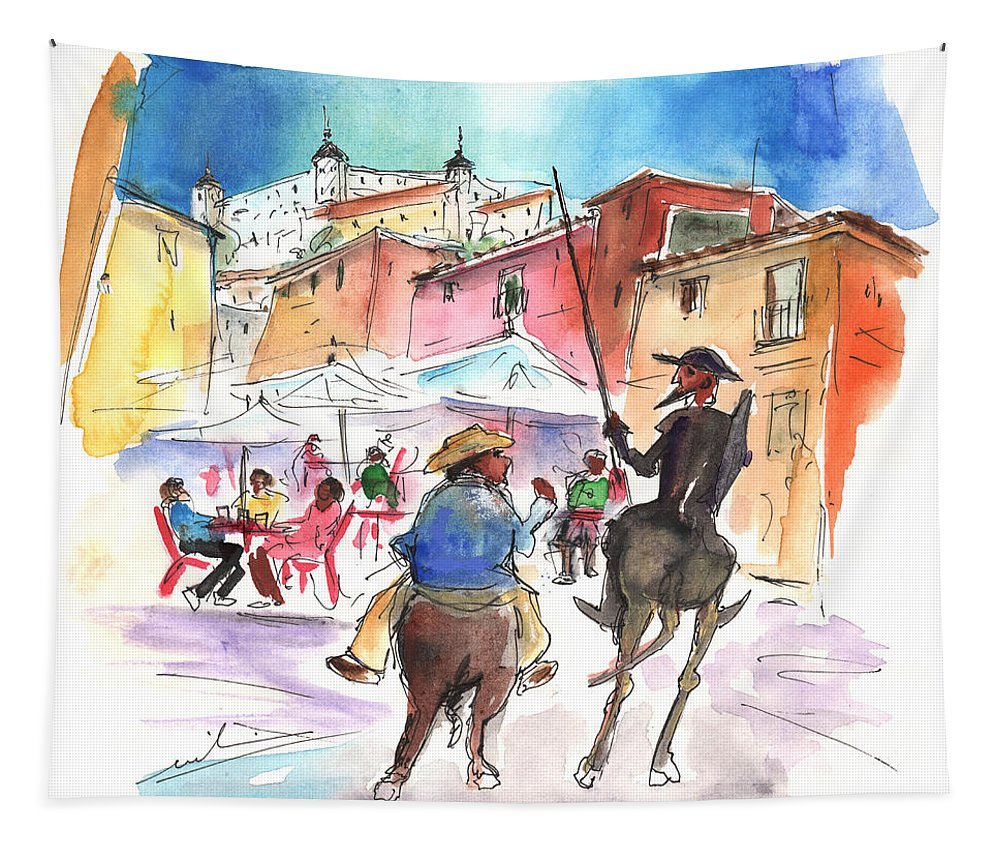 Travel Tapestry featuring the painting Don Quijote And Sancho Panza Entering Toledo by Miki De Goodaboom