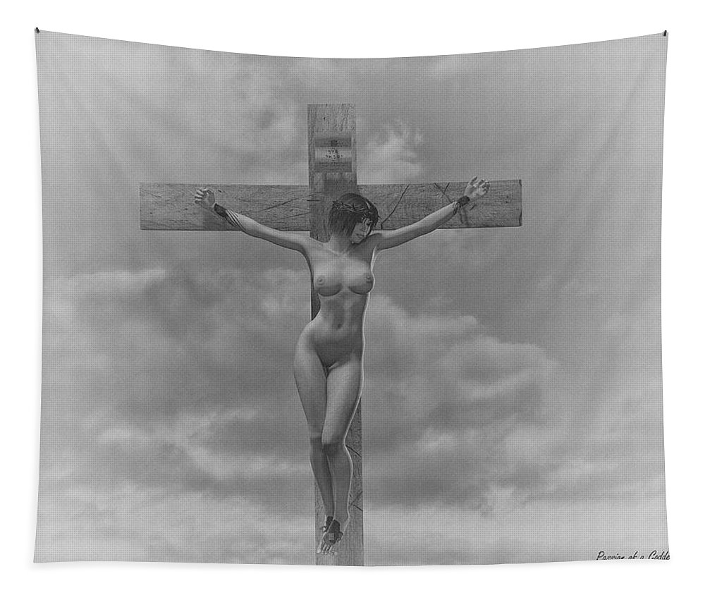 Crucifixion Tapestry featuring the digital art Donna In Croce by Ramon Martinez