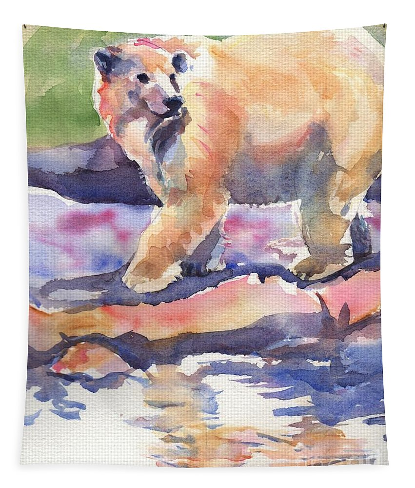 Polar Bear Watercolor Painting Tapestry featuring the painting Don't Look Back by Maria's Watercolor