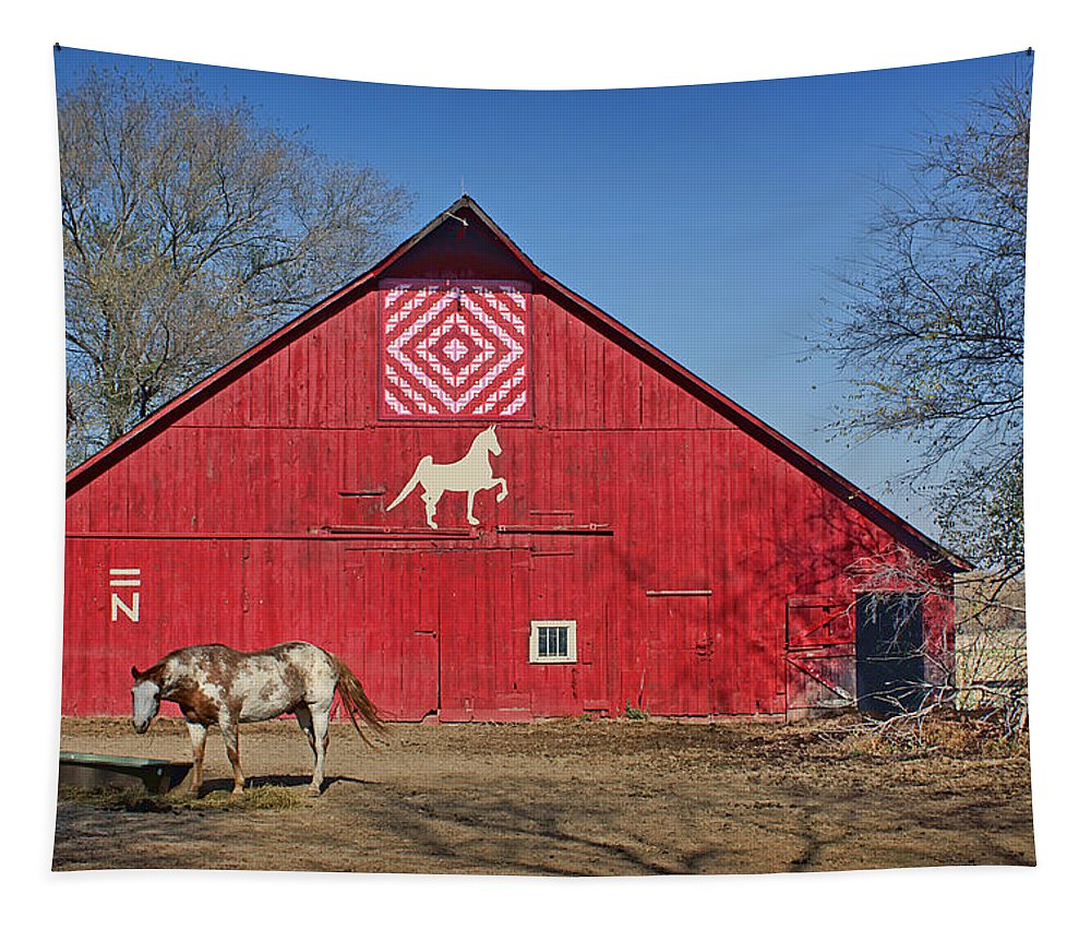 Red Barns Tapestry featuring the photograph Double Bar N - 1 by Nikolyn McDonald