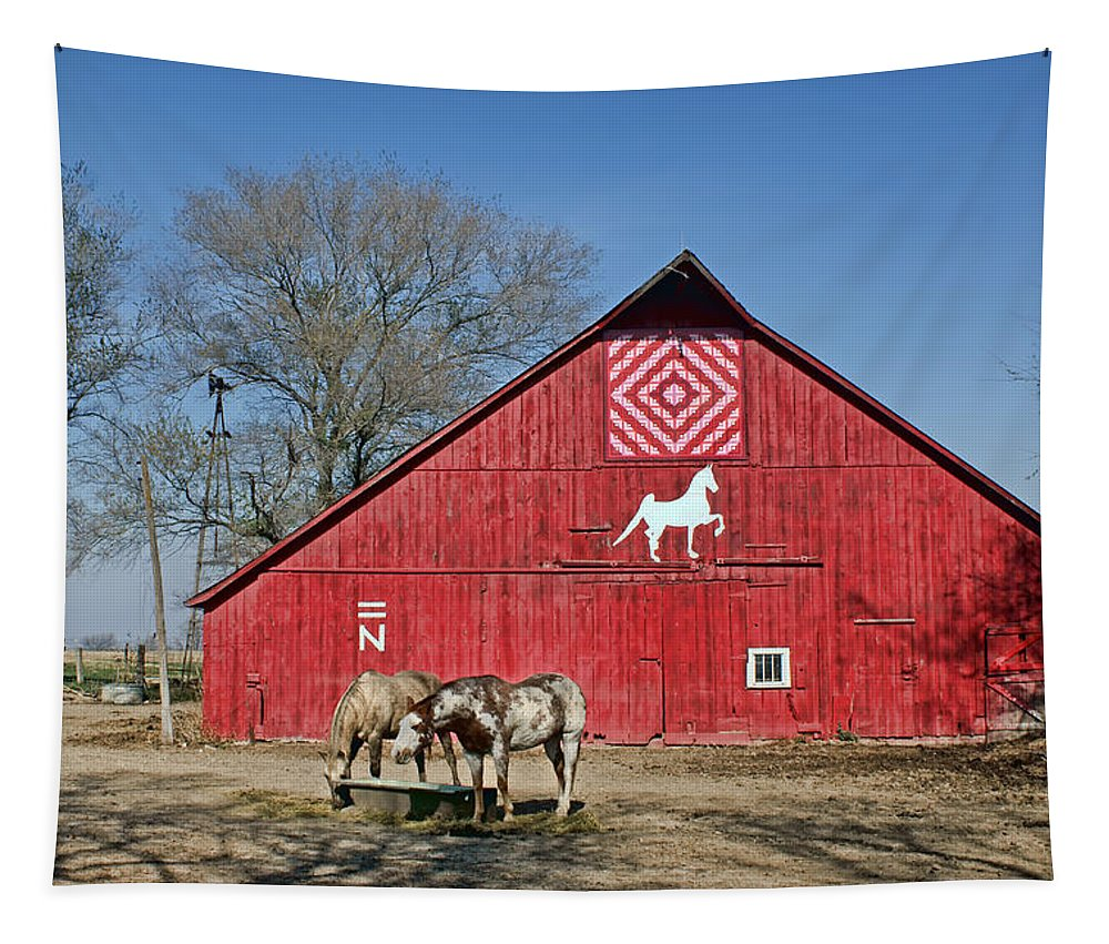 Red Barns Tapestry featuring the photograph Double Bar N - 3 by Nikolyn McDonald