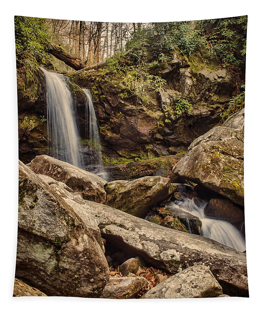 Grotto Falls Tapestry featuring the photograph Double Cascade by Heather Applegate