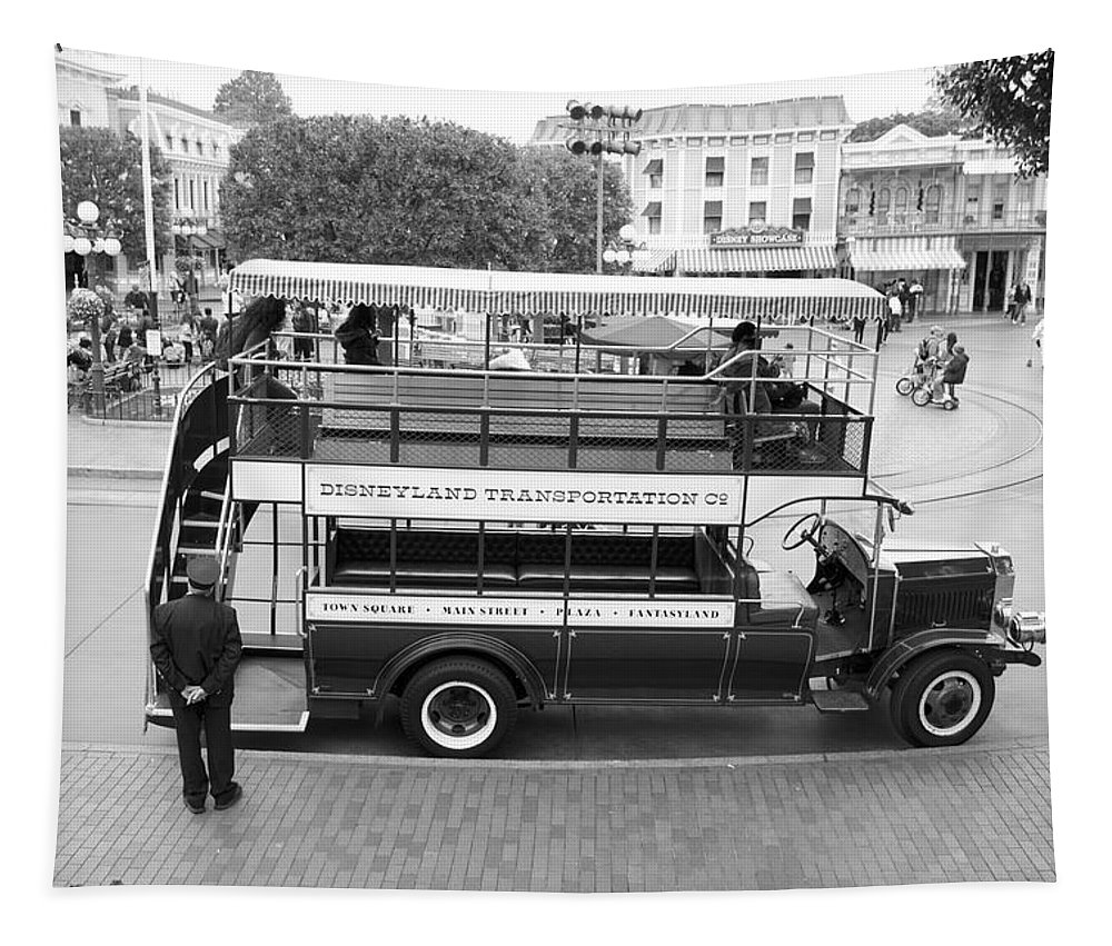 Disney Tapestry featuring the photograph Double Decker Bus Main Street Disneyland Bw by Thomas Woolworth