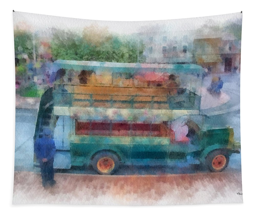 Disney Tapestry featuring the photograph Double Decker Bus Main Street Disneyland Photo Art 01 by Thomas Woolworth