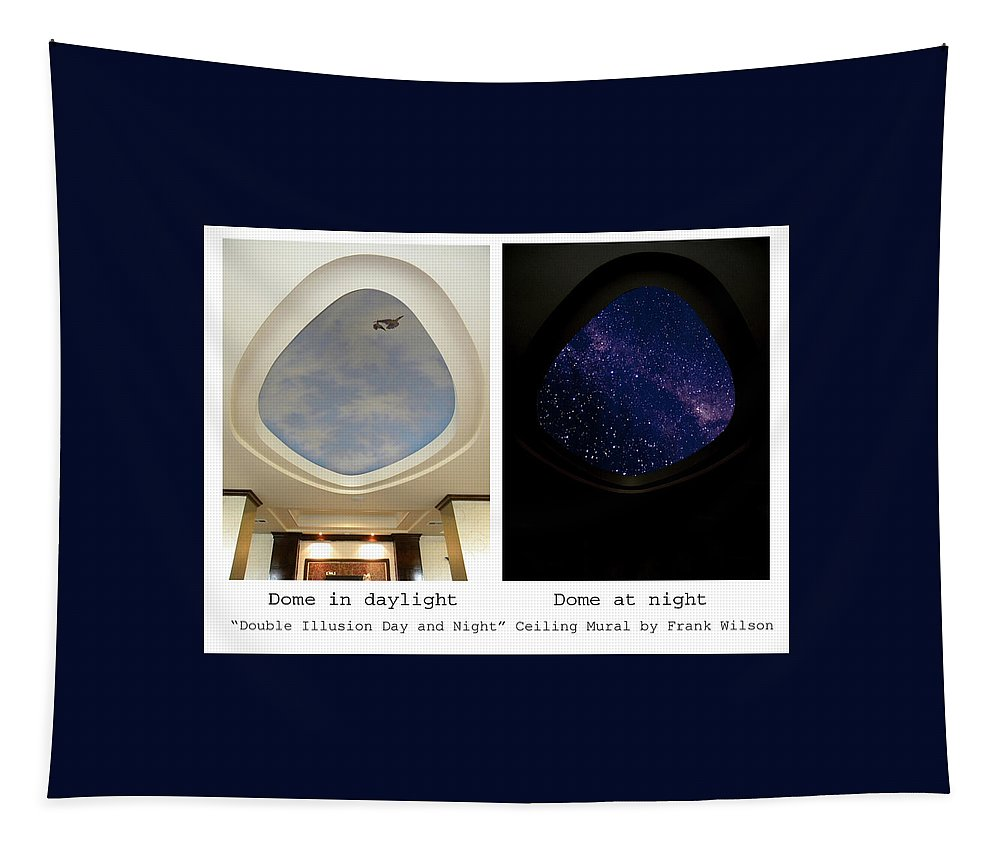 Double Illusion Day And Night Ceiling Mural Tapestry featuring the painting Double Illusion Day And Night Ceiling Mural by Frank Wilson