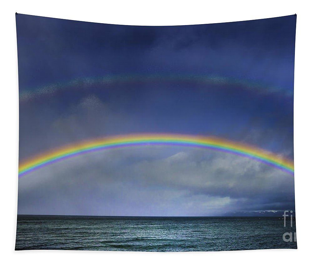 Double Rainbow Over Lake Tahoe Tapestry featuring the photograph Double Rainbow Over Lake Tahoe by Mitch Shindelbower
