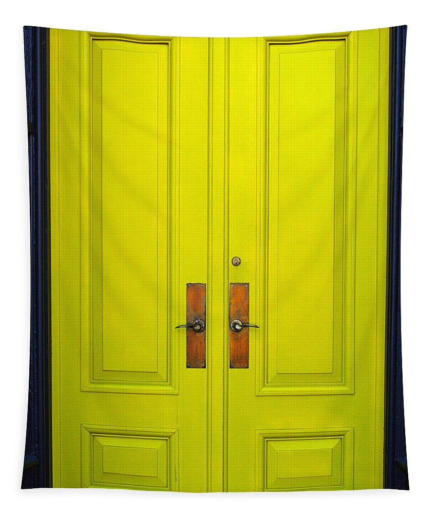 Door Frame Tapestry featuring the photograph Double Yellow Doors by Tikvah's Hope