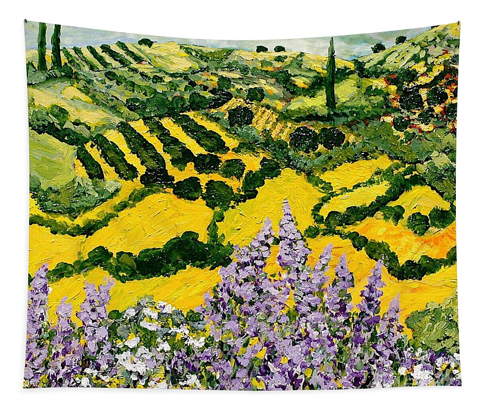 Landscape Tapestry featuring the painting Down The Hill by Allan P Friedlander