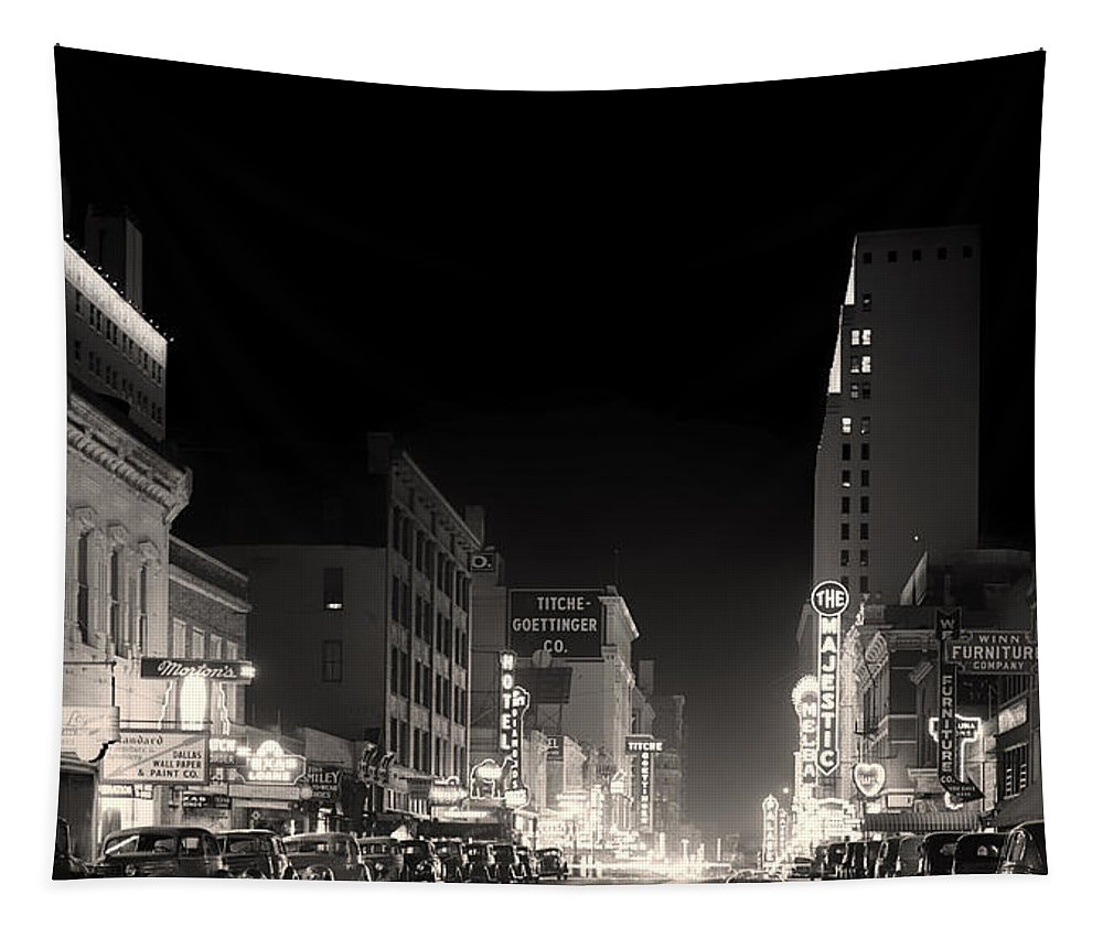 Dallas Tapestry featuring the photograph Downtown Dallas 1942 by Mountain Dreams