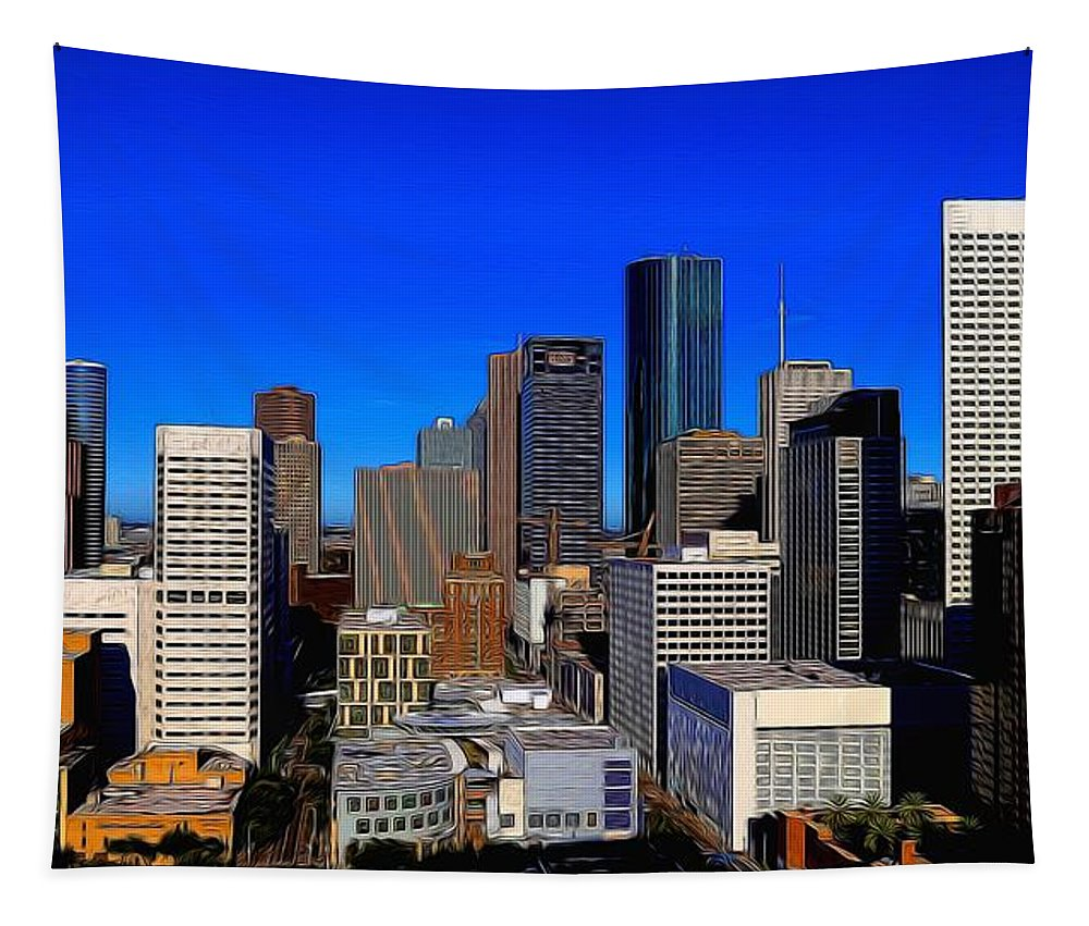 America Tapestry featuring the photograph Downtown Houston Painted by Judy Vincent