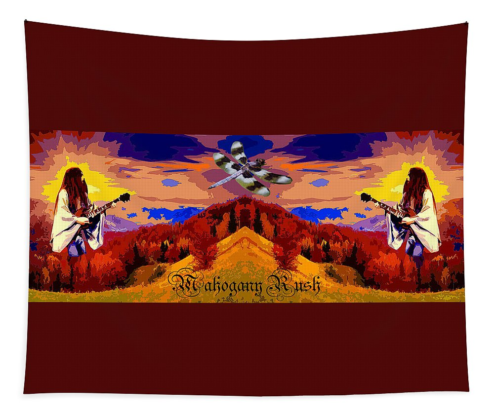 Mahogany Rush Tapestry featuring the photograph Dragonfly Morning 1 by Ben Upham