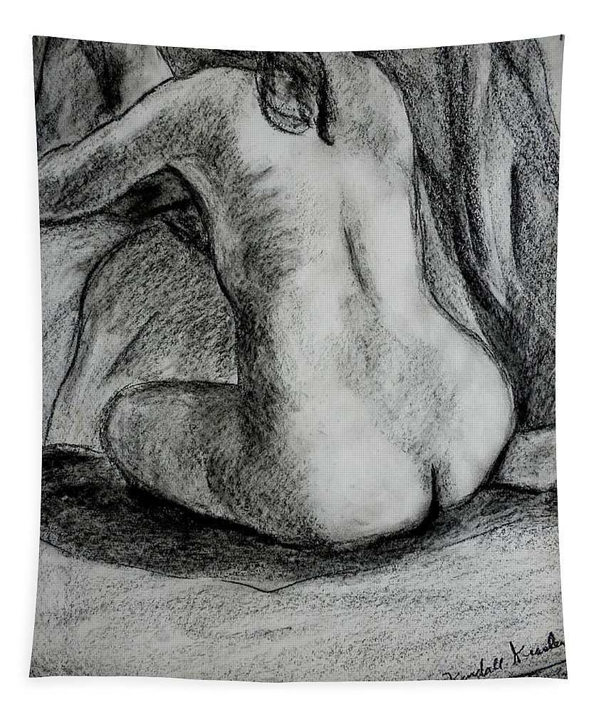 Nude Tapestry featuring the drawing Drapery Pull by Kendall Kessler
