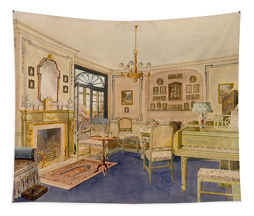 Interior Tapestry featuring the drawing Drawing Room Adam Revival Style by Richard Goulburn Lovell