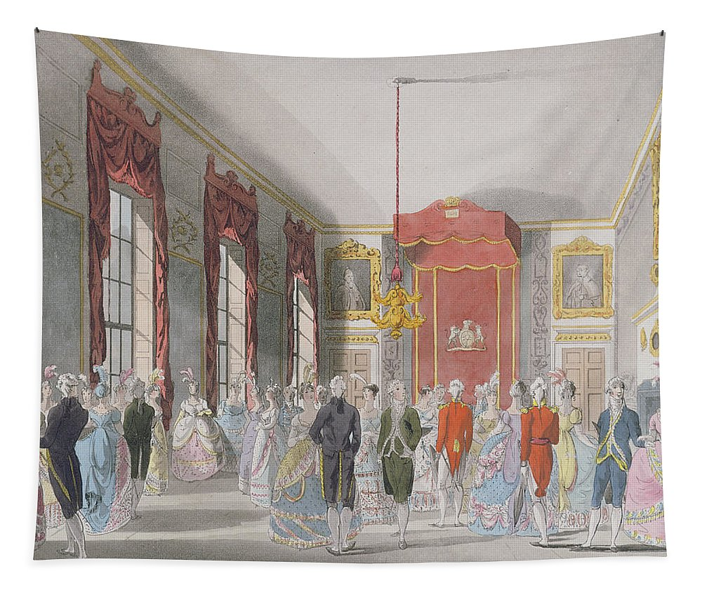 Saint Tapestry featuring the photograph Drawing Room, St. Jamess, Engraved By John Bluck Fl.1791-1819 Published By Ackermanns Repository by T. Rowlandson