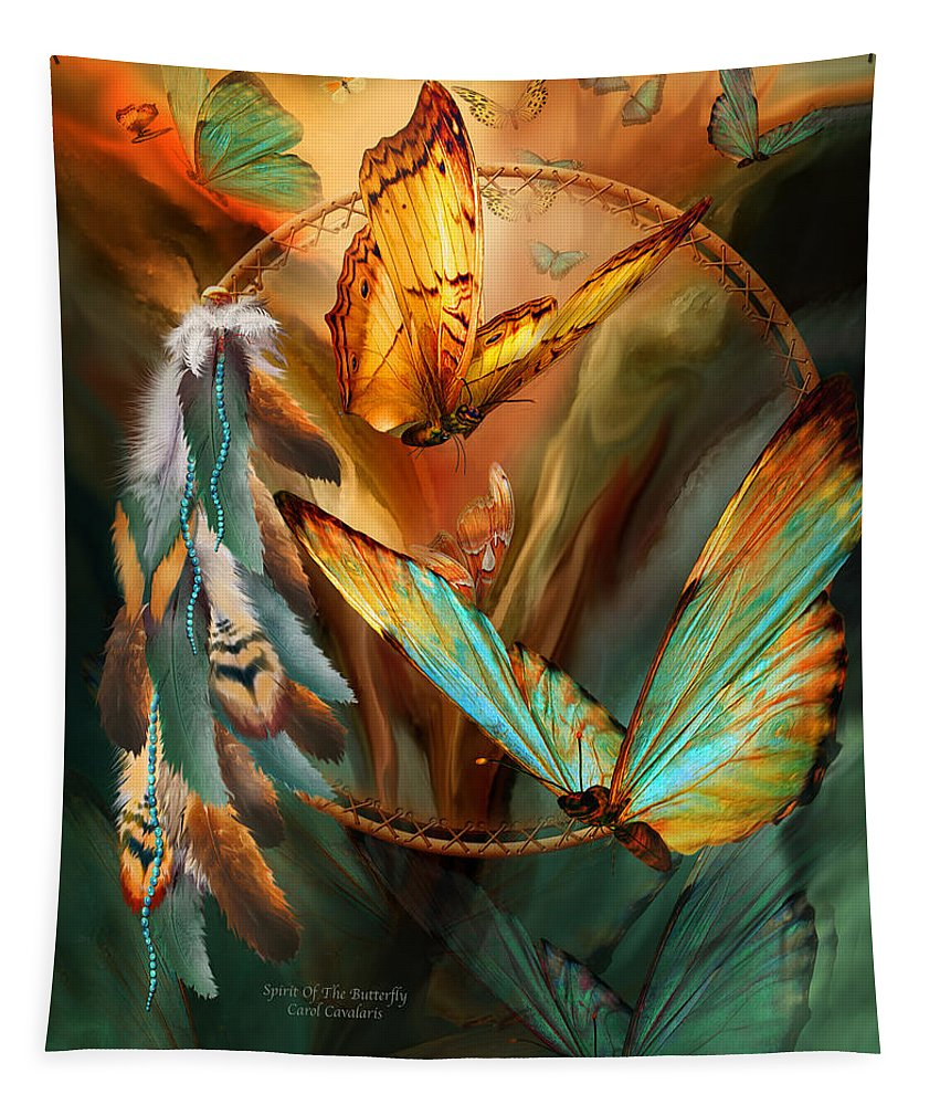 Carol Cavalaris Tapestry featuring the mixed media Dream Catcher - Spirit Of The Butterfly by Carol Cavalaris