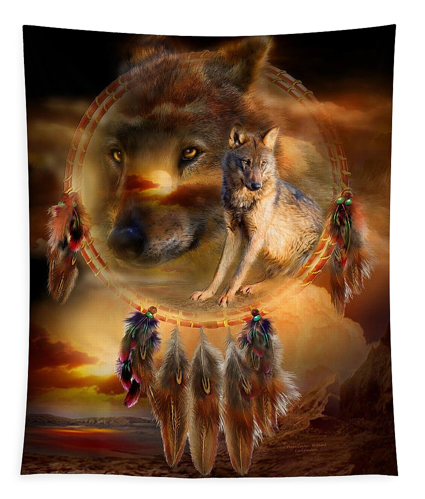 Carol Cavalaris Tapestry featuring the mixed media Dream Catcher - Wolfland by Carol Cavalaris