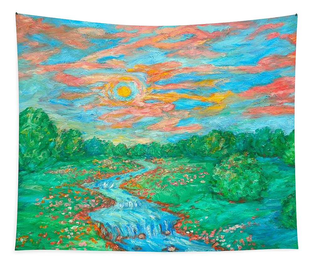 River Paintings River Oil Paintings Tapestry featuring the painting Dream River by Kendall Kessler