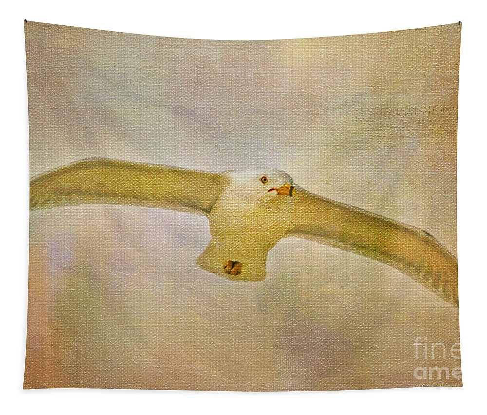 Seagull Tapestry featuring the photograph Dream World Seagull by Deborah Benoit