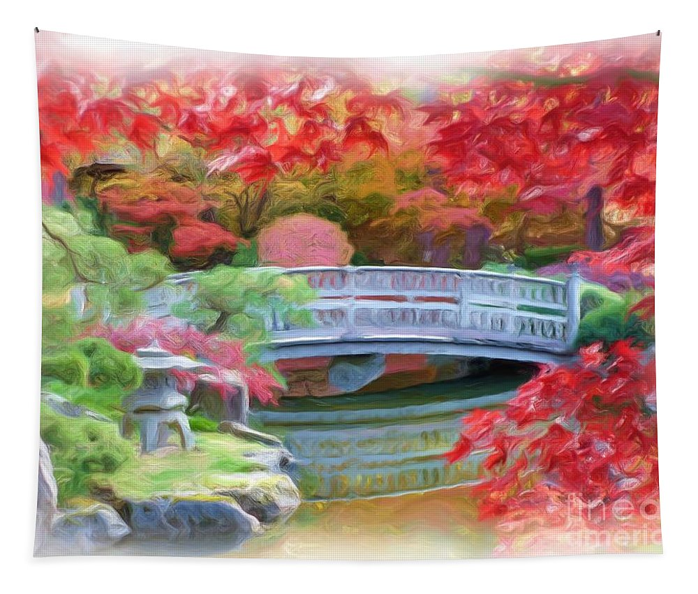 Impressionism Tapestry featuring the photograph Dreaming Of Fall Bridge In Manito Park by Carol Groenen