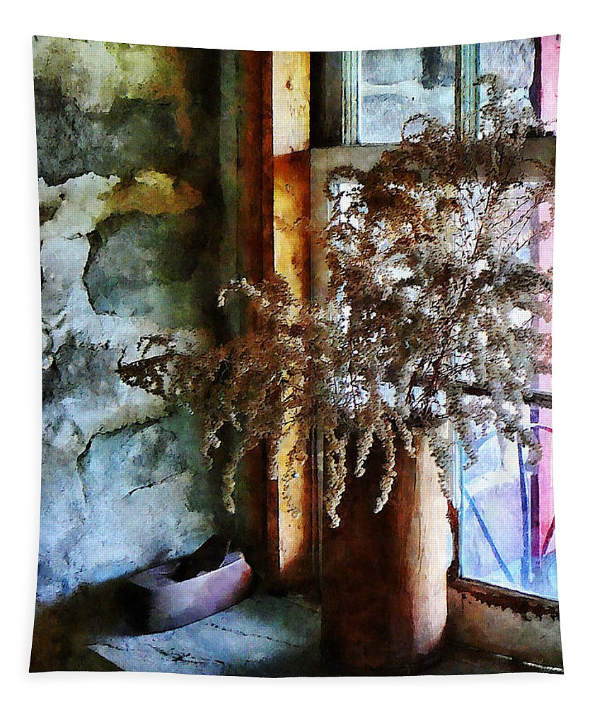 Flowers Tapestry featuring the photograph Dried Flowers On Windowsill by Susan Savad