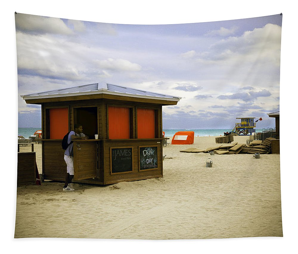 Beach Tapestry featuring the photograph Drink Of The Day - Miami Beach - Florida by Madeline Ellis
