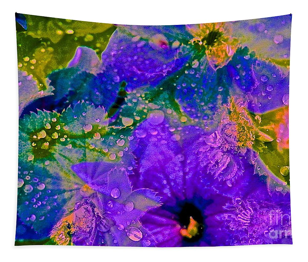 Purple Tapestry featuring the photograph Droplets 1 Of 4 by Kasha Baxter