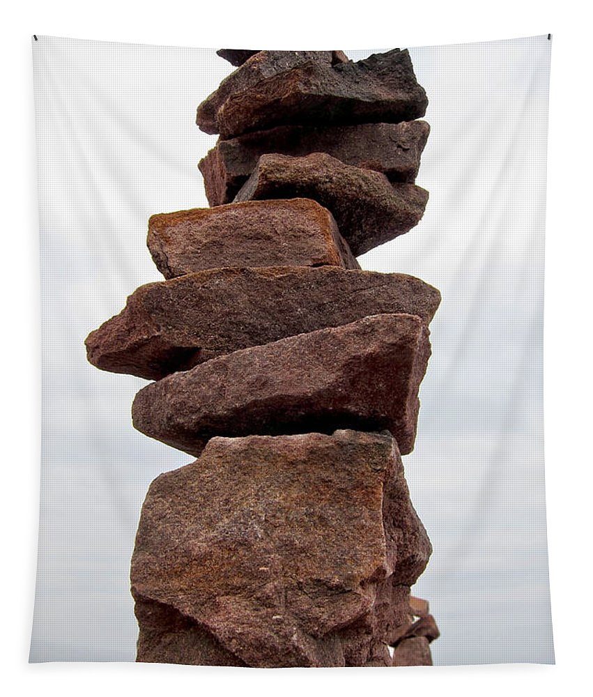 Rocks Tapestry featuring the photograph Druid Cairn by Olivier Le Queinec
