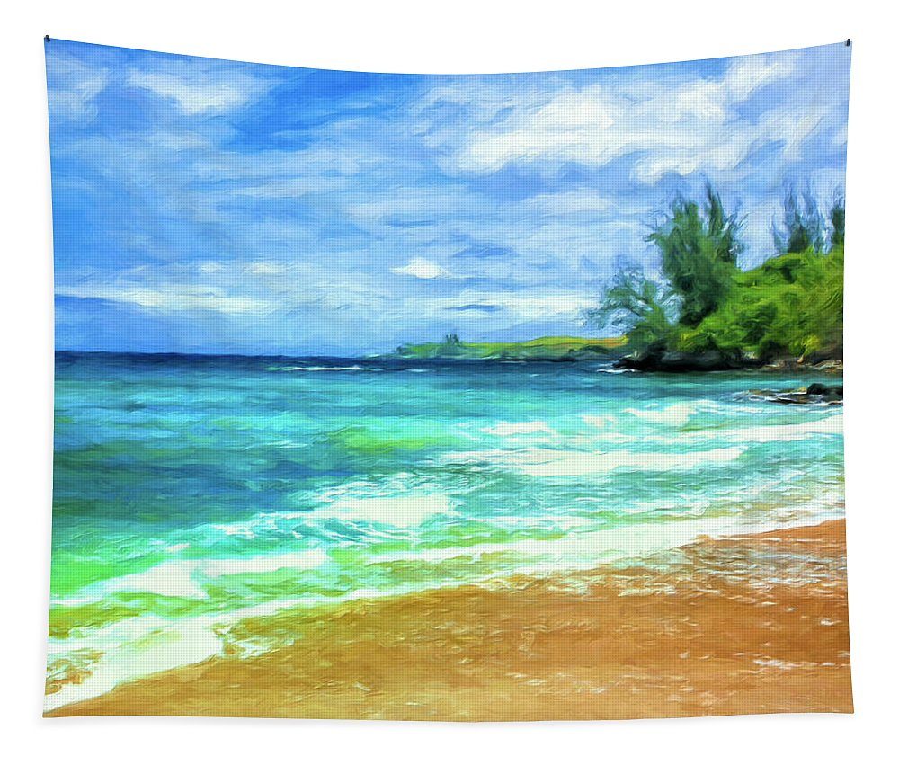 Hawaii Tapestry featuring the painting D T Fleming Beach Park by Dominic Piperata