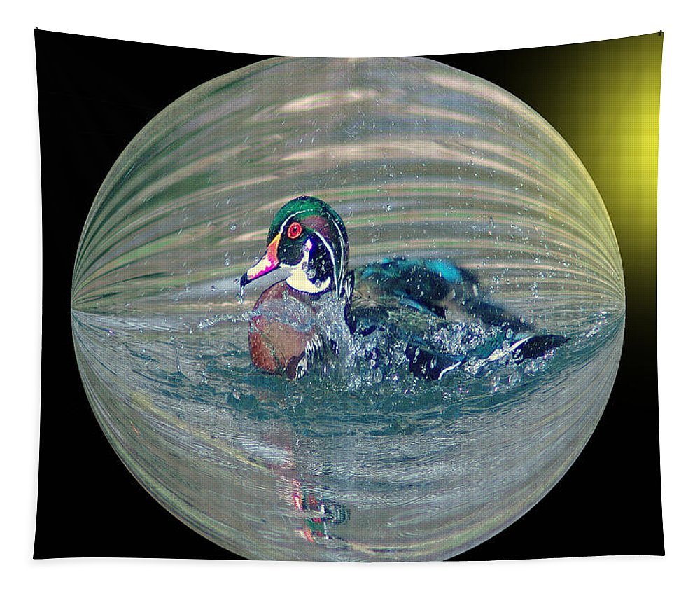 Ducks Tapestry featuring the photograph Duck In A Bubble by Jeff Swan