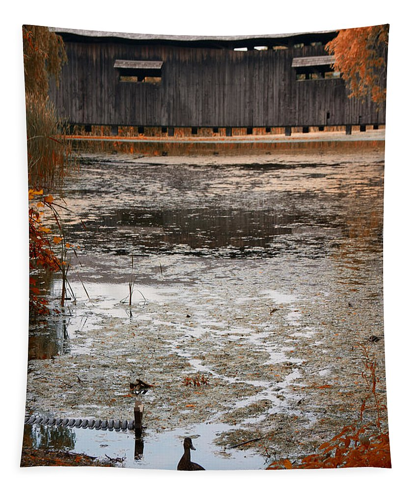 Covered Bridge Tapestry featuring the photograph Ducking Under The Bridge by Jeff Folger
