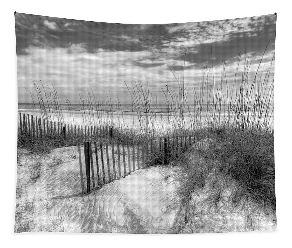 Clouds Tapestry featuring the photograph Dune Fences by Debra and Dave Vanderlaan