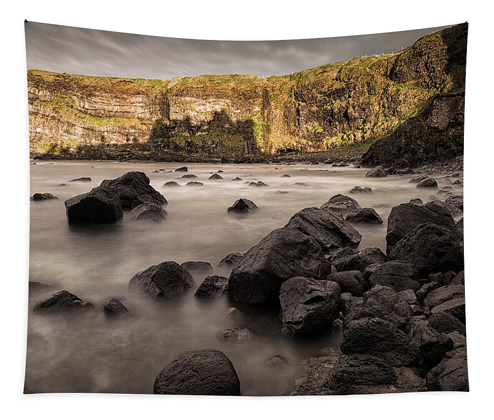 Dunluce Tapestry featuring the photograph Dunluce Castle Shadow by Nigel R Bell