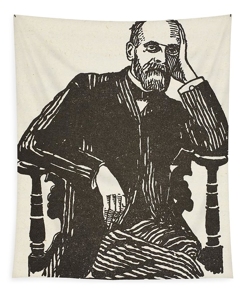 Male Tapestry featuring the drawing Emile Durkheim by French School