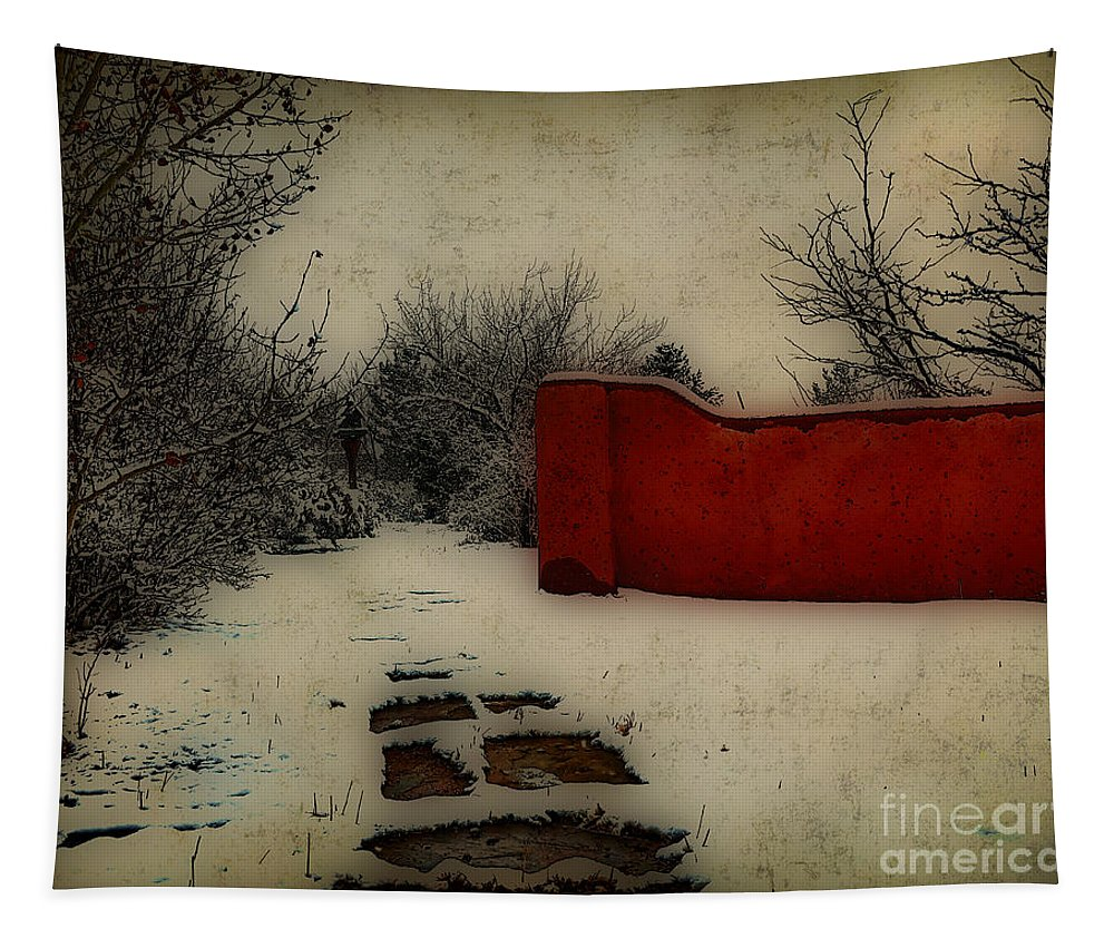 Dusk Tapestry featuring the mixed media Dusk In The Garden by Charles Muhle
