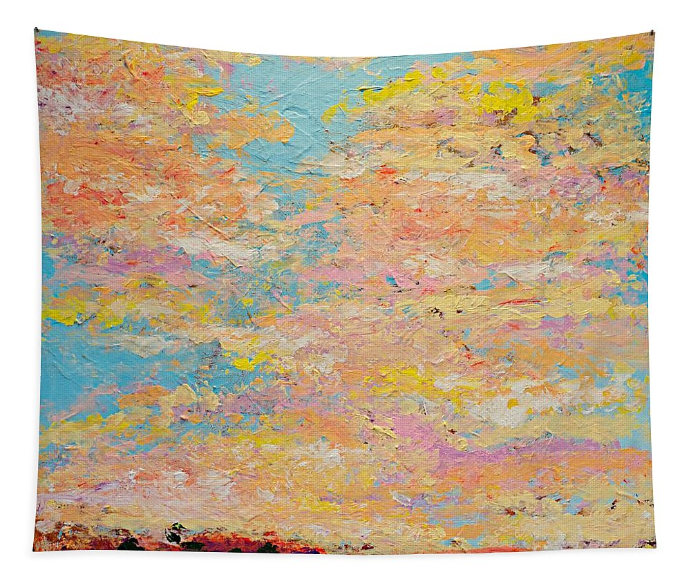Landscape Tapestry featuring the painting Dusty Sunset by Allan P Friedlander