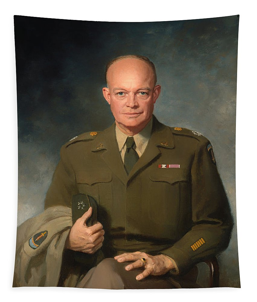 Painting Tapestry featuring the painting Dwight D Eisenhower by Mountain Dreams