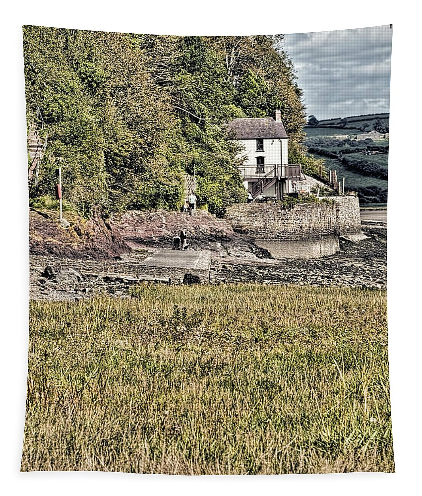 The Boathouse Tapestry featuring the photograph Dylan Thomas Boathouse At Laugharne 2 by Steve Purnell