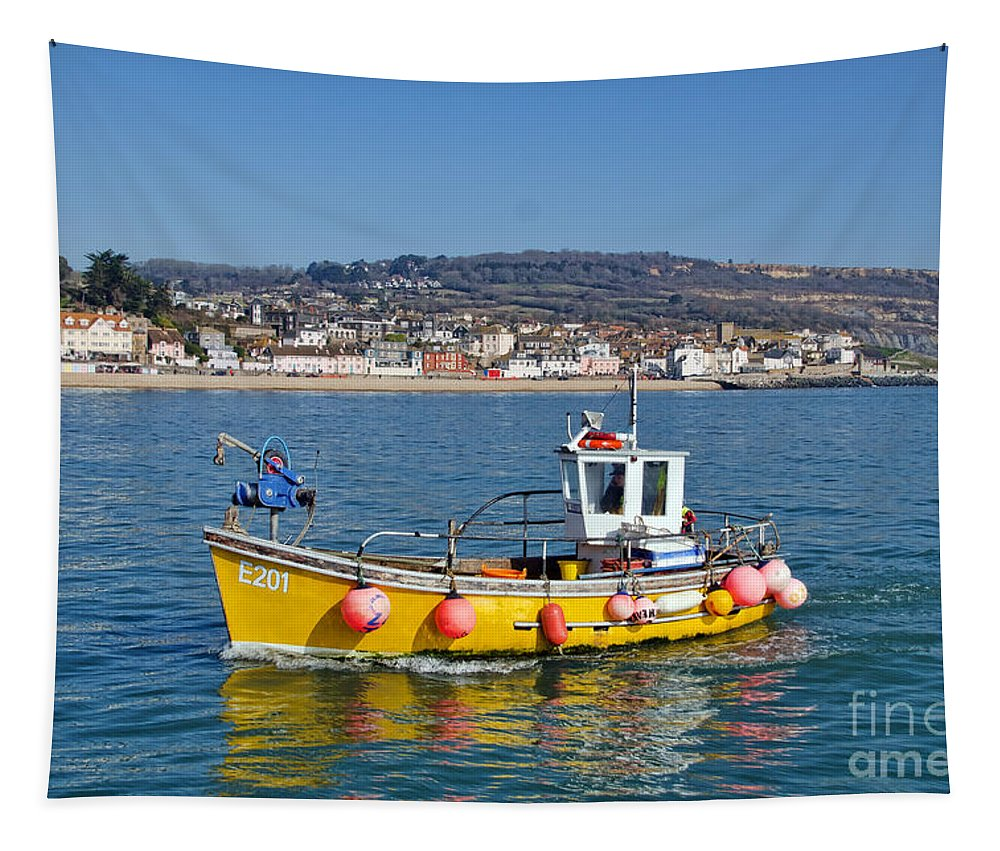 Boat Tapestry featuring the photograph E201 Coming Into Harbour by Susie Peek
