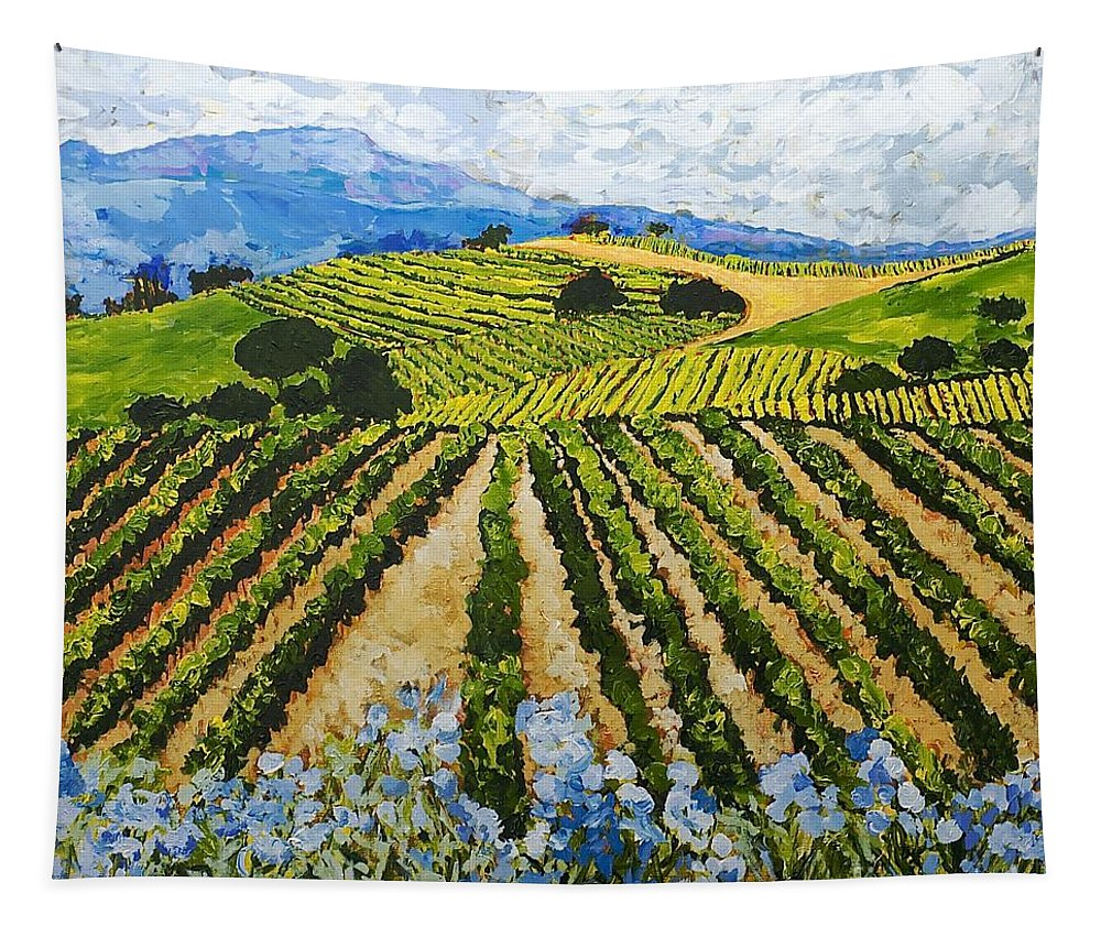 Landscape Tapestry featuring the painting Early Crop by Allan P Friedlander