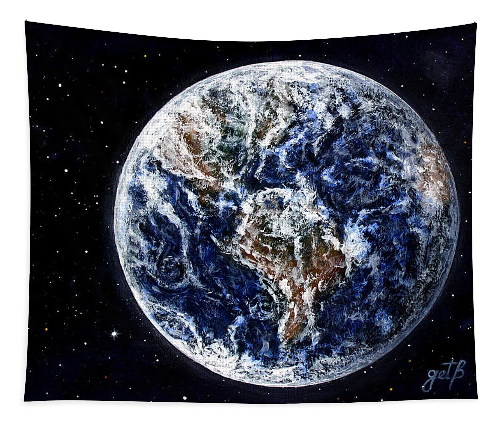 Earth Tapestry featuring the painting Earth Beauty Original Acrylic Painting by Georgeta Blanaru