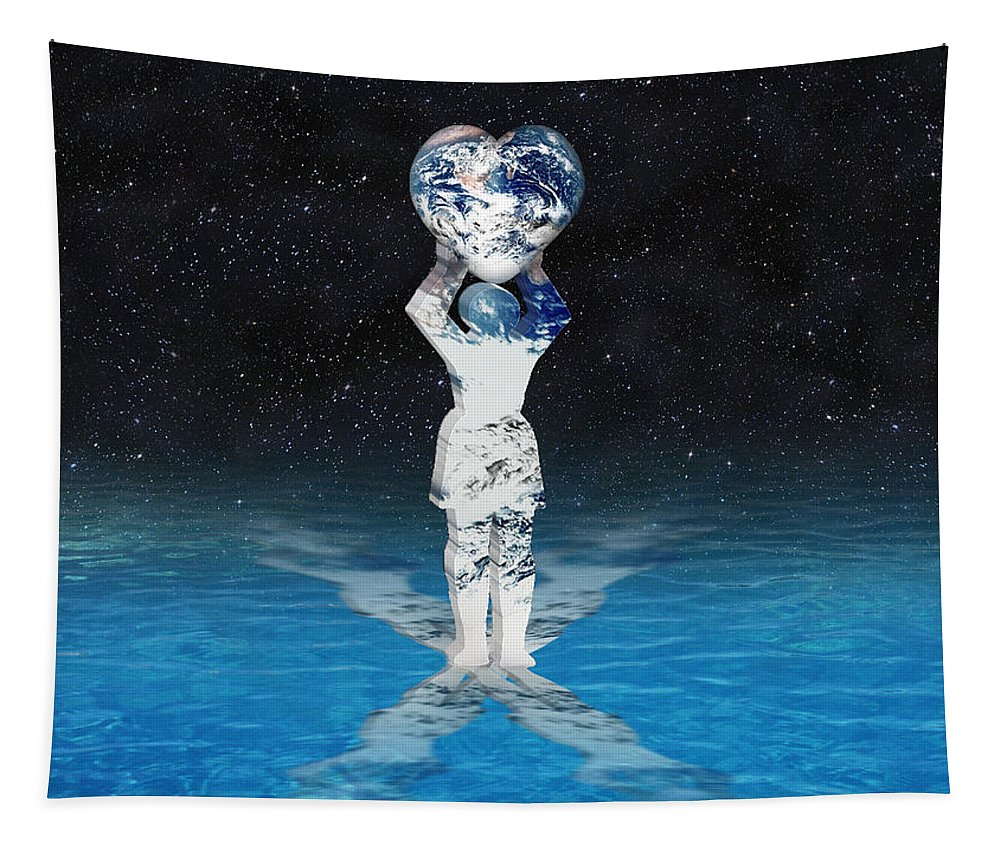 Surreal Tapestry featuring the digital art Earth Heart Holder by Gravityx9 Designs