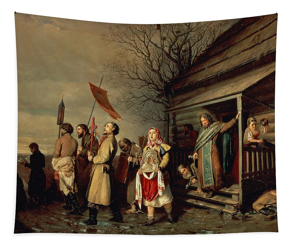 Country Tapestry featuring the photograph Easter Procession, 1861 Oil On Canvas by Vasili Grigorevich Perov