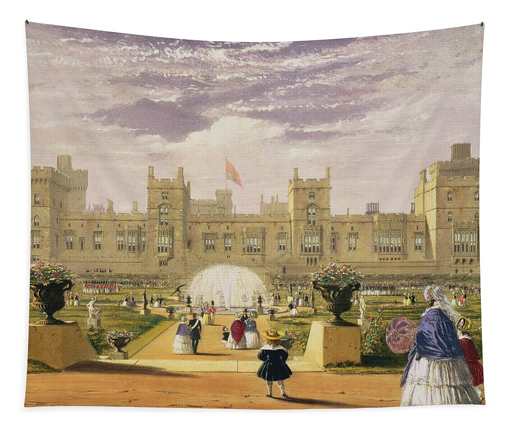 Royal Residence Tapestry featuring the drawing Eastern View Of The Castle And Garden by James Baker Pyne