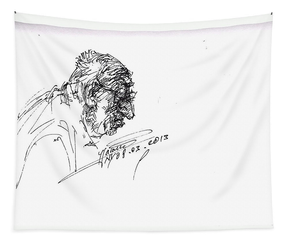 Eater Tapestry featuring the drawing Eater by Ylli Haruni