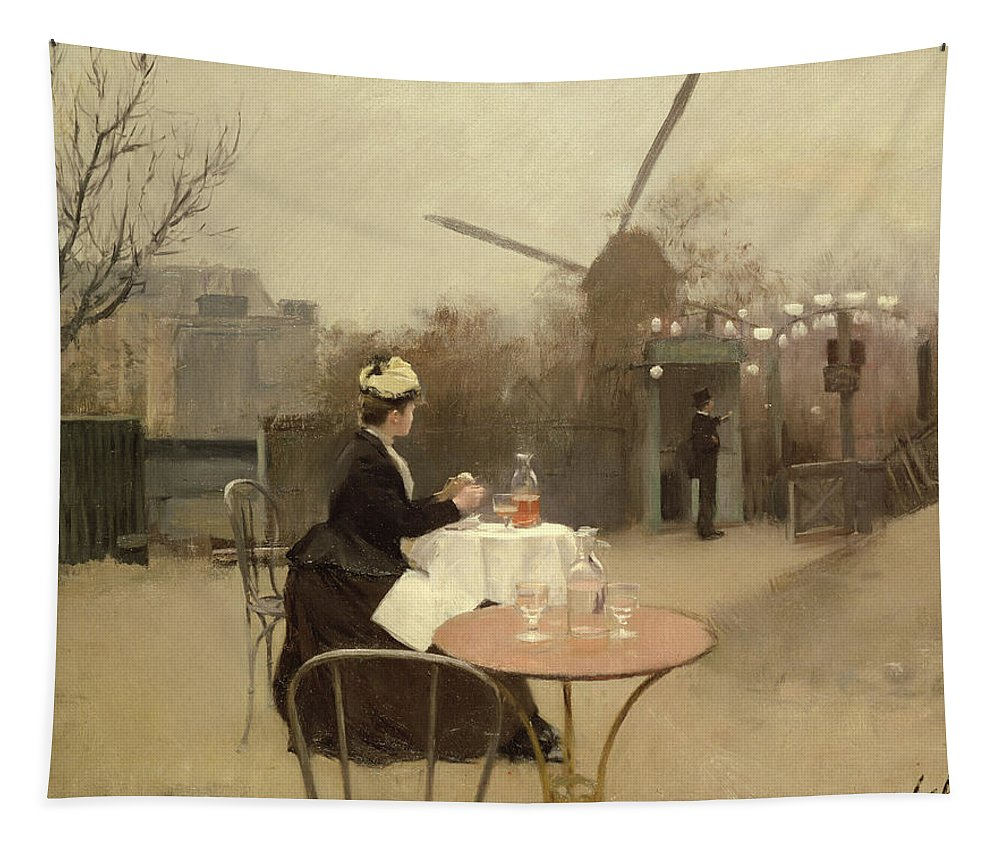 Outdoors; En Plein Air; Windmill; Table; Tables; Cafe; Bar; Drinking; Lunch; Snack; Meal; Food; French; Alone Tapestry featuring the painting Eating Al Fresco by Ramon Casas i Carbo