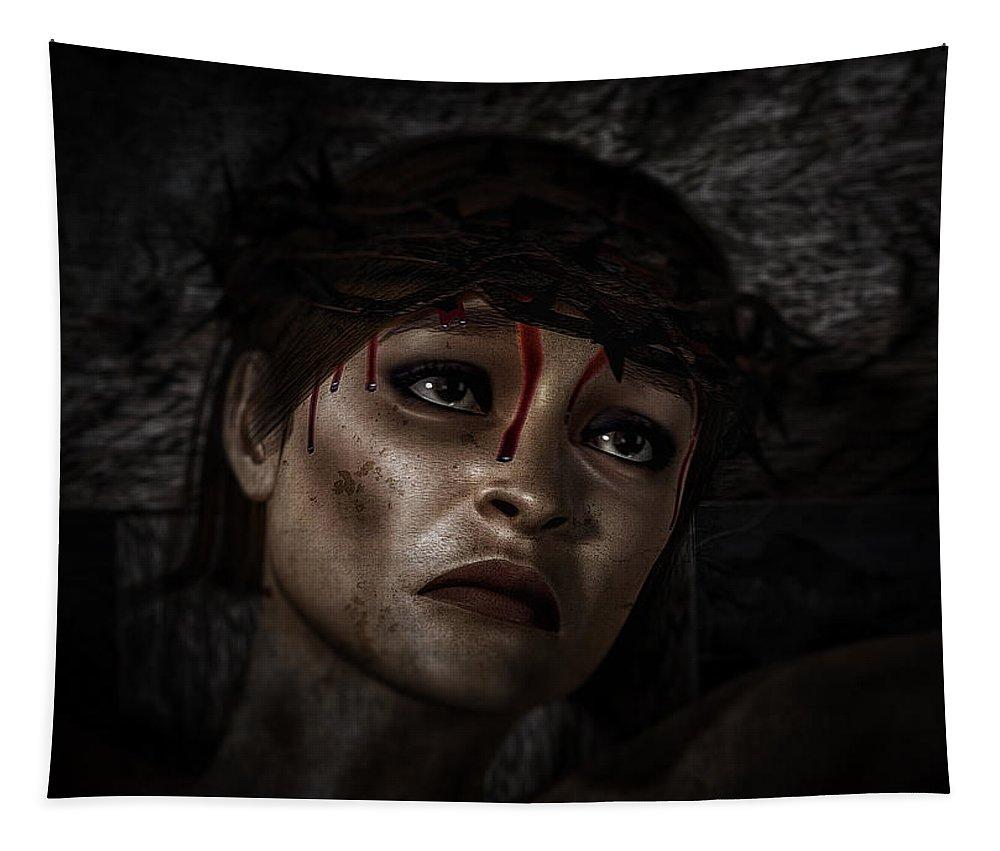 Ecce Femina Tapestry featuring the digital art Ecce Femina by Ramon Martinez