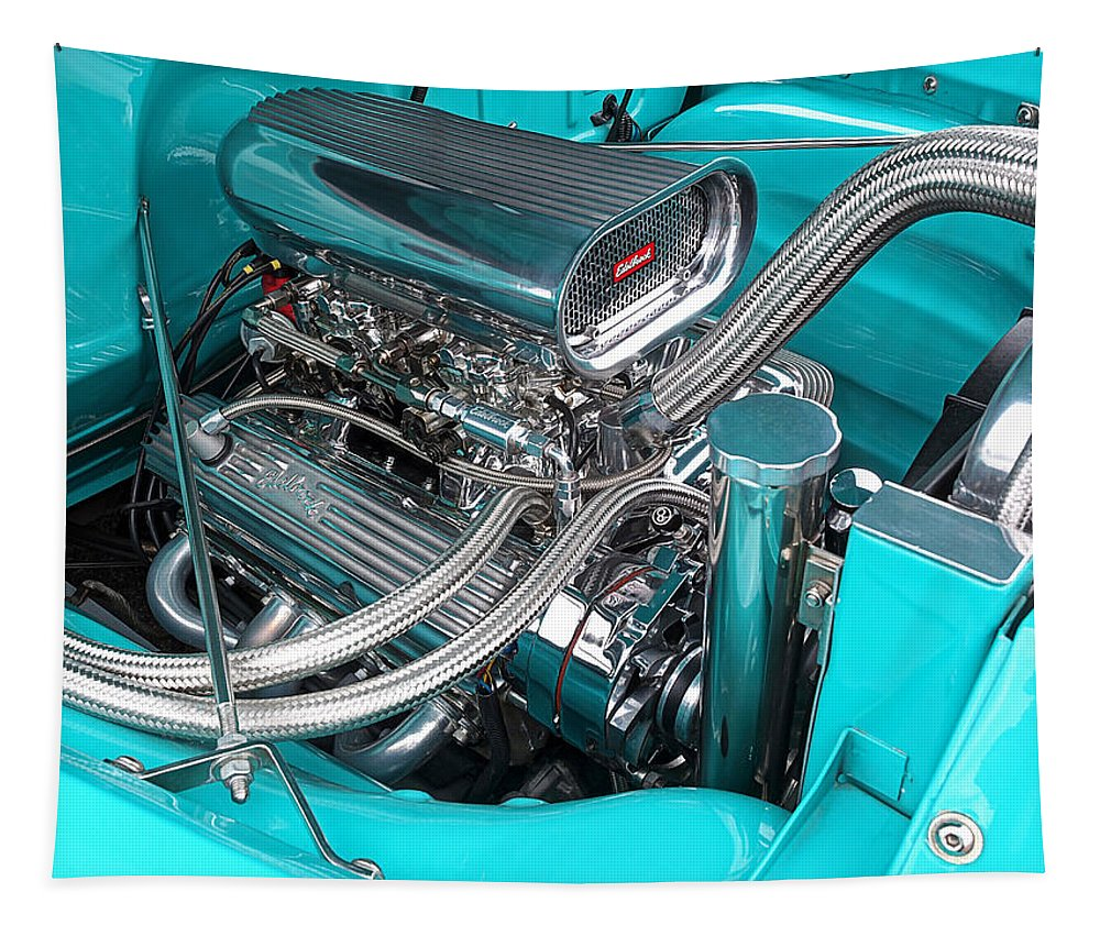 Hot Rod Tapestry featuring the photograph Edelbrock In A Chevy 3100 Hotrod by Gill Billington