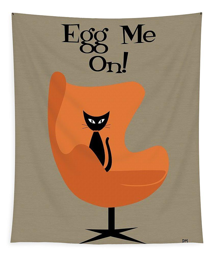 Mid Century Tapestry featuring the digital art Egg Me On In Orange by Donna Mibus